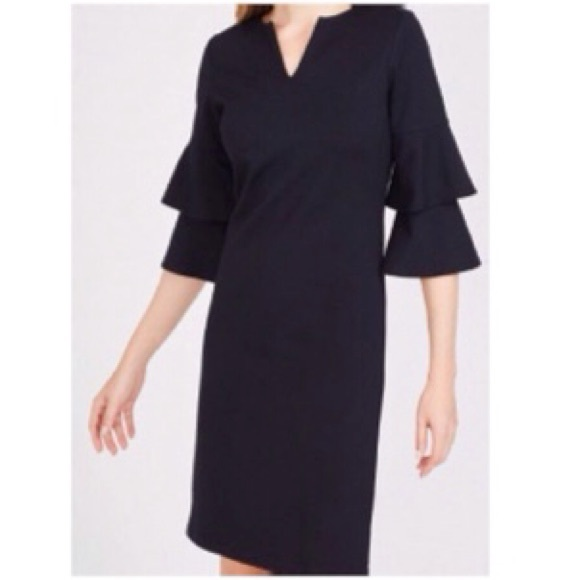 J. McLaughlin Black Letty Bell Sleeve Dress